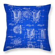 Christmas Bulb Socket Patent 1936 - Blue Throw Pillow