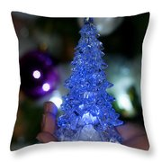 A Christmas Crystal Tree In Blue Throw Pillow