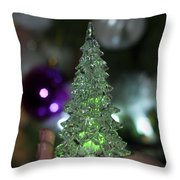 A Christmas Crystal Tree In Green  Throw Pillow