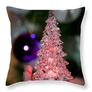 A Christmas Crystal Tree In Pink  Throw Pillow