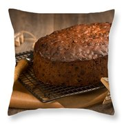Christmas Cake With Knife Throw Pillow