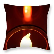 Christmas Candle Reflection Throw Pillow