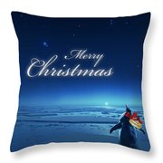 Christmas Card - Penguin Blue Throw Pillow