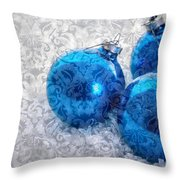 Christmas Card With Vintage Blue Ornaments Throw Pillow