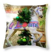 Christmas Carousel Horse With Pine Branch Throw Pillow
