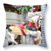 Christmas Carousel White Horse Throw Pillow