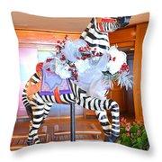 Christmas Carousel Zebra Throw Pillow