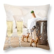 Christmas Champagne Throw Pillow