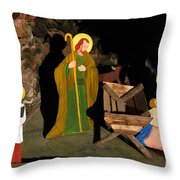 Christmas Crib Scene Throw Pillow