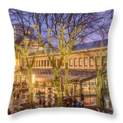 Christmas Crowd At Quincy Market Throw Pillow