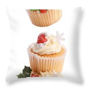 Christmas Cupcake Tower Throw Pillow