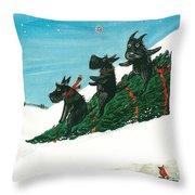Christmas Day Scottie Style Throw Pillow