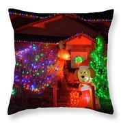 Christmas Decorations At Residential Throw Pillow