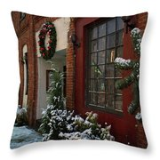 Christmas Decorations In Grants Pass Old Town  Throw Pillow