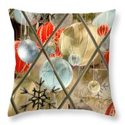 Christmas Decorations In Window Throw Pillow