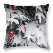 Christmas Decorations On Snowy Tree Throw Pillow
