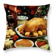 Christmas Dinner Throw Pillow