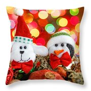 Christmas Dog And Penguin Throw Pillow