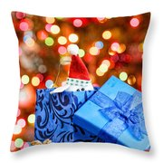 Christmas Dog In Box Throw Pillow