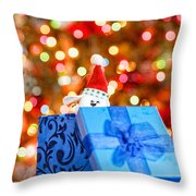 Christmas Dog In Bx Throw Pillow