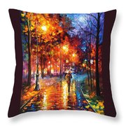 Christmas Emotions - Palette Knife Oil Painting On Canvas By Leonid Afremov Throw Pillow