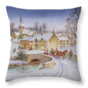 Christmas Eve In The Village  Throw Pillow by Stanley Cooke