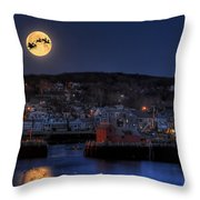 Santa And Reindeer Over Rockport Harbor Throw Pillow