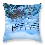 Christmas Eve Storm And The Little Garden Bridge Throw Pillow