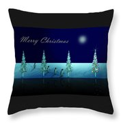 Christmas Eve Walk Of The Penguins  Throw Pillow