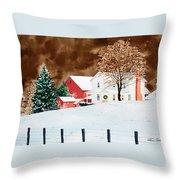 Christmas Farm Throw Pillow