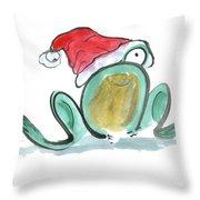 Christmas Frog Throw Pillow