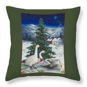 Christmas Geese Throw Pillow