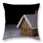 Christmas Gingerbread Cottage At Night Throw Pillow