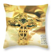 Christmas Greeting Card - The Cross And Bible Quote Throw Pillow