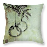 Christmas Greeting Card With Ink Brush Drawing Throw Pillow