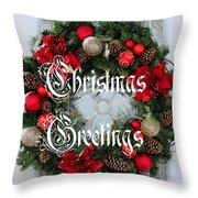 Christmas Greetings Door Wreath Throw Pillow