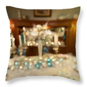 Christmas Holiday Dinner Table Decoration Blurred Throw Pillow