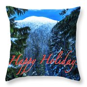 Christmas Holidays Scenic Snow Covered Mountains Looking Through The Trees  Throw Pillow