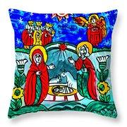 Christmas Icon Religious Naive Folk Art Nativity Throw Pillow