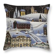 Christmas In Fox Creek Village Throw Pillow