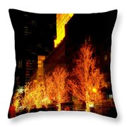 Christmas In New York - Trees And Star Throw Pillow
