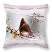 Christmas In Pink - Cardinal Christmas Throw Pillow