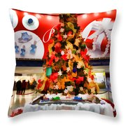 Christmas In The Train Station Throw Pillow