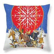 Christmas Journey Oil On Canvas Throw Pillow by Pat Scott