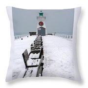 Christmas Lighthouse Throw Pillow