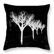 Christmas Lights In Black And White Throw Pillow
