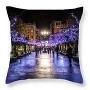 Christmas Lights In Gijon Throw Pillow