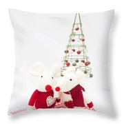 Christmas Mice Throw Pillow