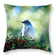 Christmas Mockingbird Throw Pillow