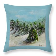 Christmas Mountain Throw Pillow